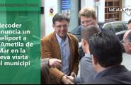 Recoder anuncia un heliport a l'Ametlla de Mar en la seva visita al municipi